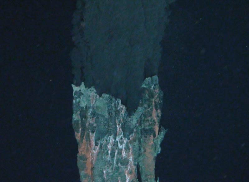 A black smoker vent at the Beebe Vent Field (also called the Piccard Vent), the deepest in the world, and possibly the hottest.  Credit: University of Southampton / NOC.